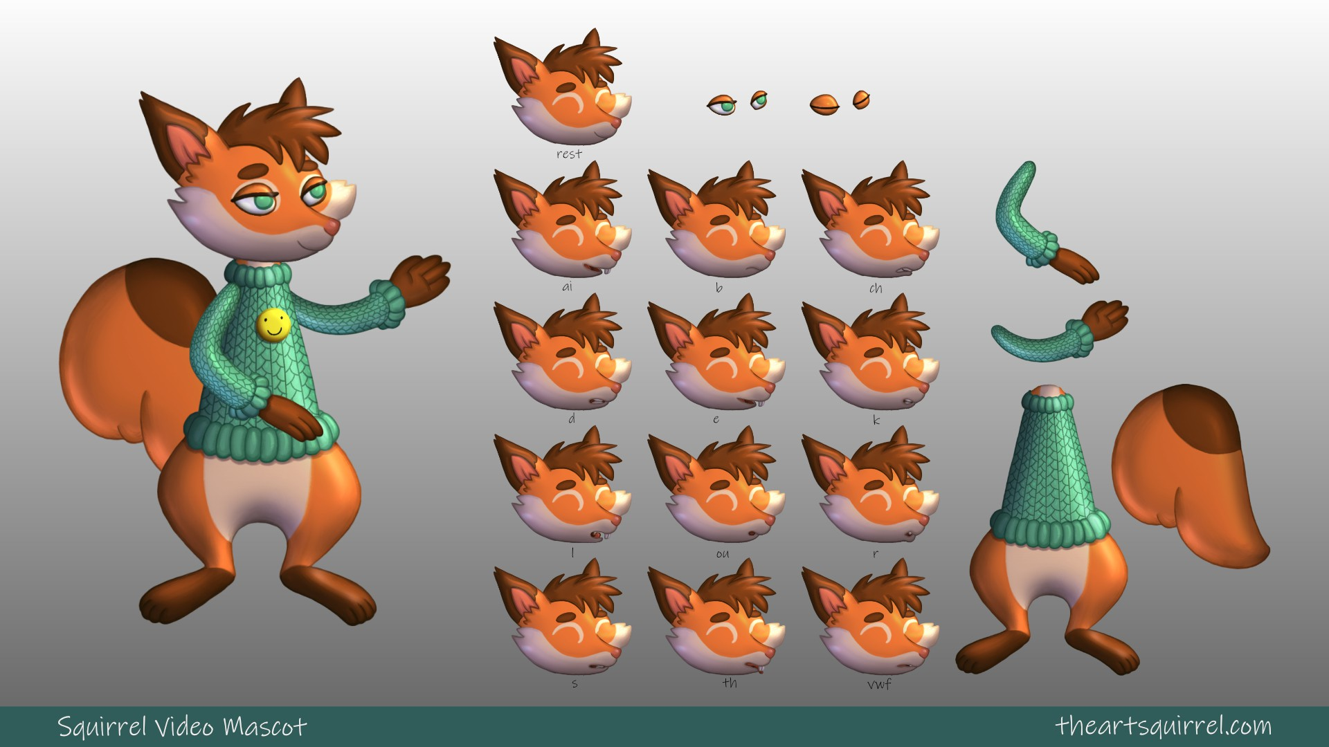 Squirrel VTuber 2d mascot